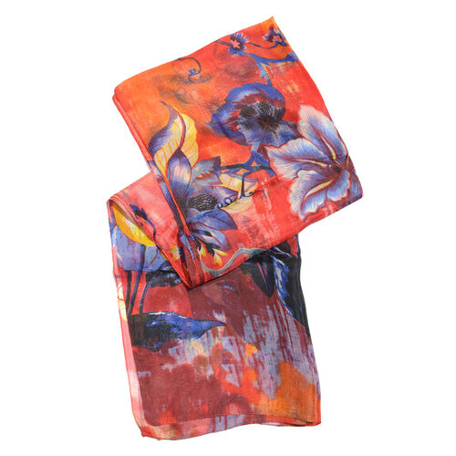 100% Mulberry Silk Red, Purple and Multi Colour Handscreen Floral Printed Scarf (Size 170X50 Cm)