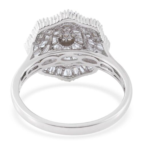 Designer Inspired Ballerina Diamond Ring in Platinum Overlay Sterling Silver 1.150 Ct. Number of Diamonds 102