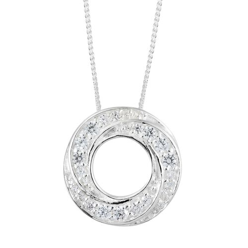J Francis Sterling Silver (Rnd) Circle of Life Pendant with Chain Made with SWAROVSKI ZIRCONIA