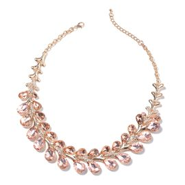 Simulated Morganite (Pear), White Austrian Crystal Necklace (Size 22 with 4 inch Extender) in Yellow