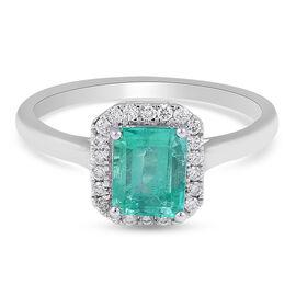 RHAPSODY 950 Platinum AAAA Boyaca Colombian Emerald and Diamond Ring 1.50 Ct, Platinum Wt. 5.14 Gms