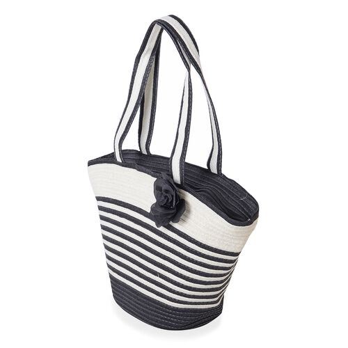 Summer Special - Black and White Colour Flower Adorned Stripe Pattern Tote Bag (Size 47x30x20x13 Cm) and Hat (Size 29x24 Cm)