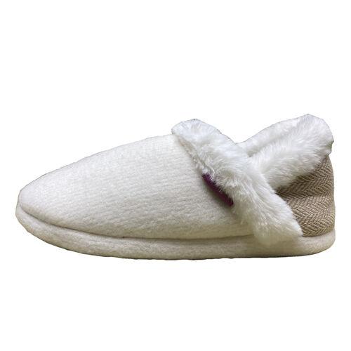 Dunlop Fleece Lined Collared Full Slippers (Size 3) - Beige