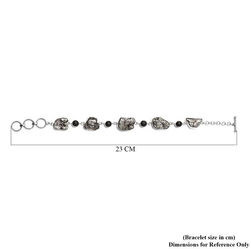 Artisan Crafted : Meteorite and Shungite Bracelet (Size 9 with T-Lock) in Sterling Silver 91.80 Ct, SIlver wt. 10.32 Gms