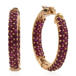 Burmese Ruby (Rnd) Hoop Earrings (with Clasp) in Yellow Gold Plated Sterling Silver 3.740 Ct. Silver wt 10.00 Gms.