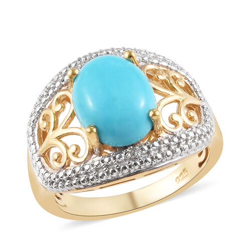 2.26 Ct Sleeping Beauty Turquoise and Diamond Ring in 14K Gold Plated Silver