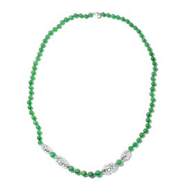 RACHEL GALLEY Green Jade (Rnd) Necklace (Size 31) in Rhodium Overlay Sterling Silver 309.80 Ct, Silv