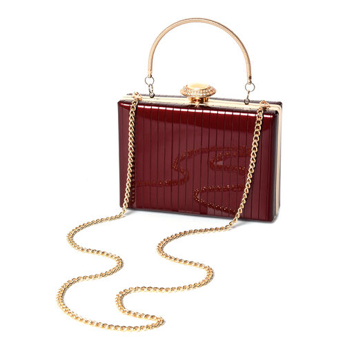 BOUTIQUE COLLECTION Burgundy Colour Stripe Pattern Shoulder Bag with Chain Strap and Crystal Studded