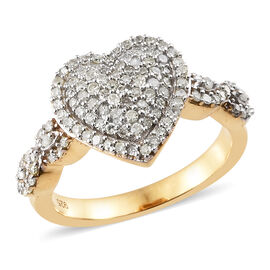 Diamond (Rnd) Heart Ring in 14K Gold Overlay Sterling Silver Number Of Diamond 115