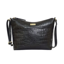 Assots London CAROL Croc Embossed Leather Crossbody Bag with Adjustable Shoulder Strap (Size 29x21x9