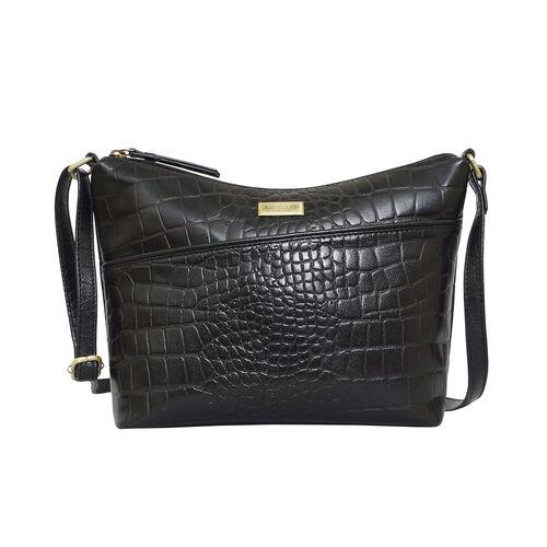 DOD - Assots London CAROL Croc Embossed Leather Crossbody Bag with Adjustable Shoulder Strap (Size 2