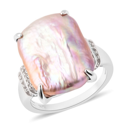 Baroque Pearl and Zircon Solitaire Ring in Rhodium Plated Sterling Silver