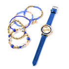 6 Piece Set - STRADA Japanese Movement Moving Dark Blue Austrian Crystal Water Resistant Watch with