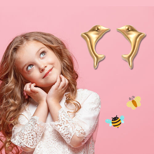Little Dolphin Earrings for Kids in Gold Plated Silver