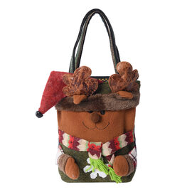 3D Reindeer Pattern Tote Bag (Size 23x28 Cm) - Brown and Multi