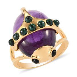Sundays Child - Amethyst, Malachite and Boi Ploi Black Spinel Beetle Ring in 14K Gold Overlay Sterli