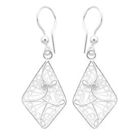 Royal Bali Drop Earrings with Fancy Hook in Sterling Silver