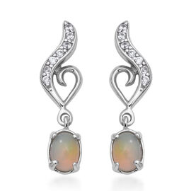 Ethiopian Welo Opal (Ovl), Natural Cambodian Zircon Earrings (with Push Back) in Rhodium Overlay Ste