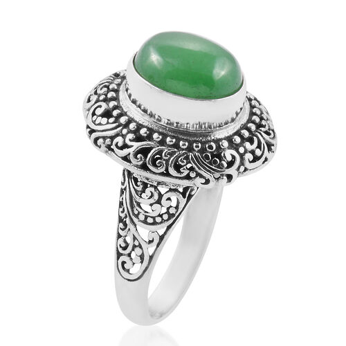 Royal Bali Collection Green Jade (Ovl) Filigree Ring in Sterling Silver 6.130 Ct. Silver wt 6.80 Gms.