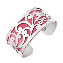 Designer Inspired-Vine Pattern Cuff Bangle (Size 7.5) in Stainless Steel