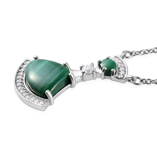 GP - Malachite, Natural Cambodian Zircon and Blue Sapphire Necklace (Size 18) in Platinum Overlay Sterling Silver 5.51 Ct.