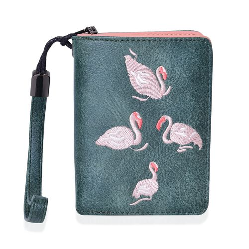 Swan Embroidered Green Bi-Fold Wallet (Size 11.7x8.5x3 Cm)