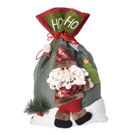 3D Santa Claus Pattern Drawstring Bag (Size 34x54 Cm) - Red and Green
