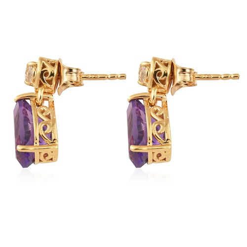 Amethyst, White Topaz Drop Earrings (with Push Back) in Yellow Gold Vermeil Sterling Silver 3.75 Ct