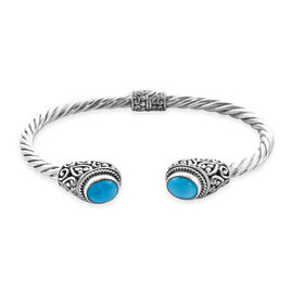 Tucson Special - Arizona Sleeping Beauty Turquoise (Ovl) Torque Bangle (Size 7.25) in Sterling Silve