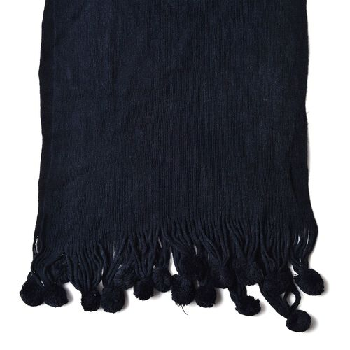 Black Colour Scarf with Fur Balls (Size 160x40 Cm)
