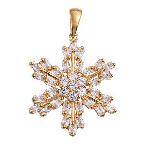 J Francis - 14K Gold Overlay Sterling Silver (Rnd) Snowflake Pendant Made with SWAROVSKI ZIRCONIA