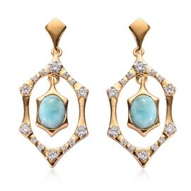 3.60 Ct Larimar and Zircon Dangle Earrings in Gold Plated Sterling Silver