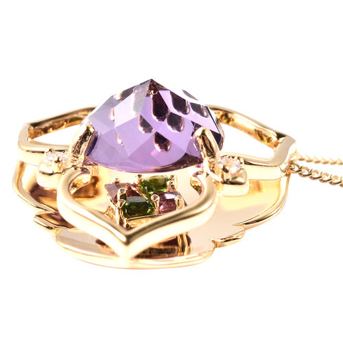 Galatea DavinChi Cut Collection - Amethyst, Mozambique Garnet, Natural Cambodian Zircon and Russian Diopside Pendant with Chain (Size 18) in Yellow Gold Overlay Sterling Silver 3.07 Ct.
