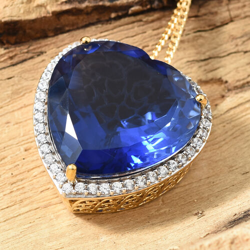 Ceylon Colour Quartz (Hrt), Natural White Cambodian Zircon Pendant with Chain (Size 30) in 14K Yellow Gold Overlay Sterling Silver 67.000 Ct, Silver wt 15.00 Gms