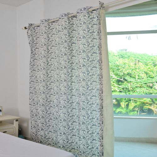 Grey and Cream Colour Printed Double Side Curtain (Size 230X167 Cm)
