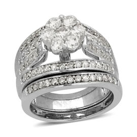 NY Close Out Deal-Set of 3 14K White Gold Diamond (Rnd) (I1/G-H) 3 Ring Set 1.502 Ct, Gold wt 10.40