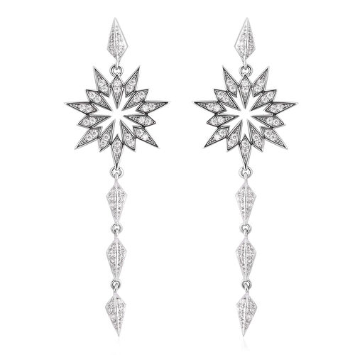 Simulated Diamond (Rnd) Dangle Earrings (with Push Back) in Silver Tone