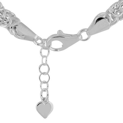Italian Made - Sterling Silver Graduated Byzantine Necklace (Size 18 with 2 inch Extender), Silver wt 23.60 Gms