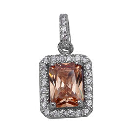 ELANZA Simulated Morganite and Simulated Diamond Halo Pendant in Rhodium Plated Sterling Silver