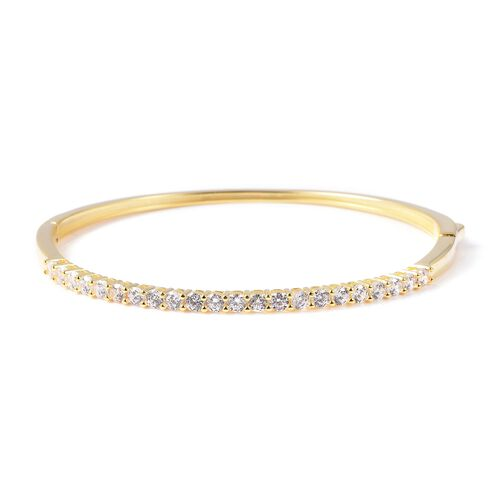 ELANZA Simulated Diamond Stacker Bangle in Gold Plated Sterling Silver 10.08 Grams 7.5 Inch