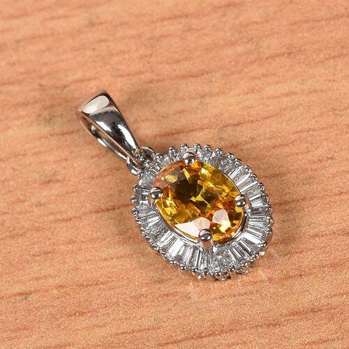 RHAPSODY 950 Platinum AAAA Yellow Sapphire and Diamond (VS/E-F) Halo Pendant 1.30 Ct.