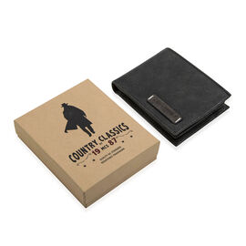 MCS Country Classics: 100% Genuine Leather Tri Fold Mens Wallet - Black and Dark Grey