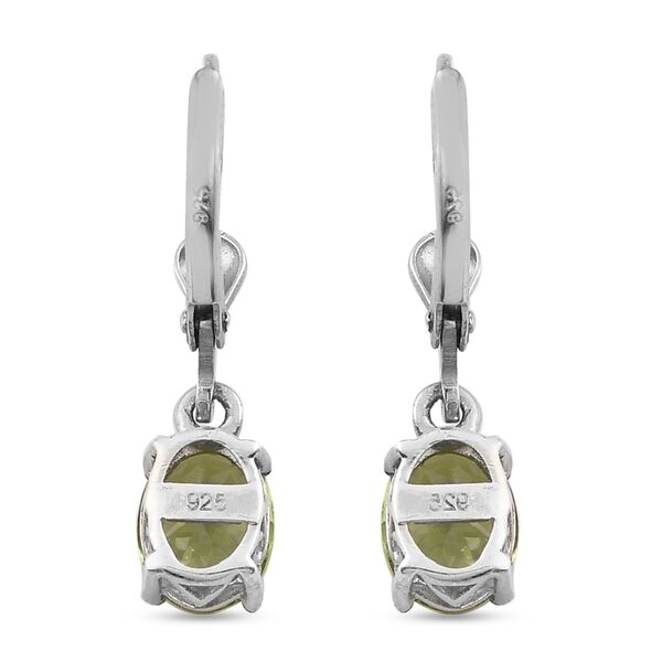 MP - Natural Hebei Peridot (Ovl) Lever Back Earrings in Platinum Overlay Sterling Silver 2.69 Ct.