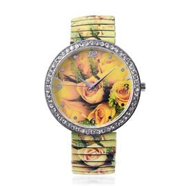 STRADA Japanese Movement Yellow Rose Pattern Water Resistance White Austrian Crystal Studded Bracele