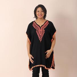 JOVIE 100% viscose Kaftan with Embroidery (Size 75x85cm) - Black & Pink