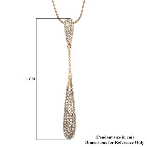 White Austrian Crystal Drop Pendant with Chain (Size 29 with 2.5 inch Extender) in Gold Tone