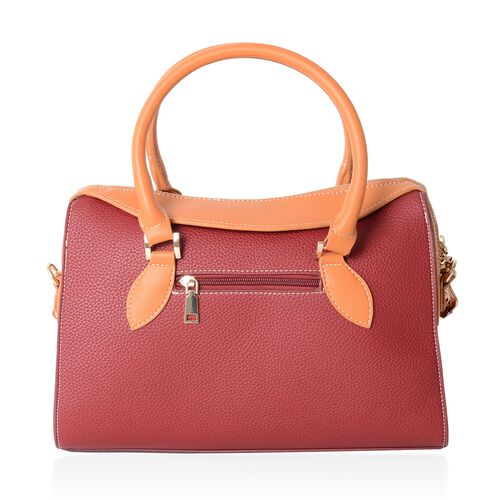 TW11 COLLECTION  Burgundy Tote Bag with External Zipper Pocket and Removable Shoulder Strap (Size 32.5x24x14 Cm)