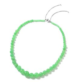 289 Ct Green Jade Adjustable Beaded Necklace in Rhodium Plated Sterling Silver  18 to 22 Inch
