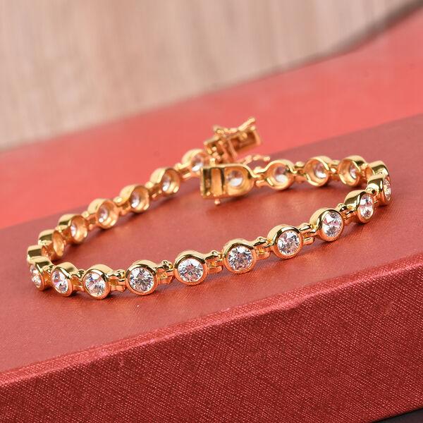 J Francis - 14K Gold Overlay Sterling Silver Bracelet (Size 7) Made with SWAROVSKI ZIRCONIA 12.40 Ct, Silver wt 16.00 Gms