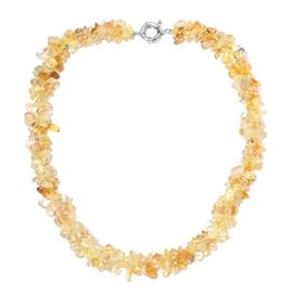 Citrine, Simulated Yellow Citrine Beads Necklace (Size 18) 270.000 Ct.